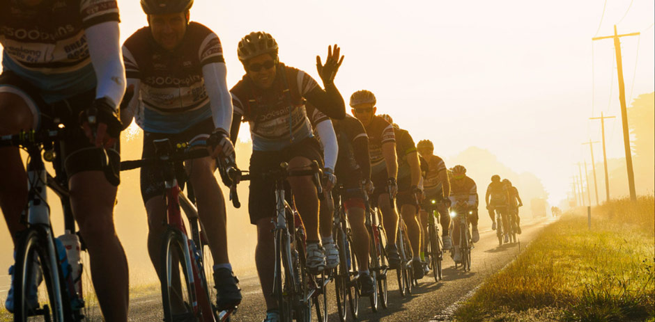 Riders on the Great Ocean Road during last years 25,000 Spins charity event!